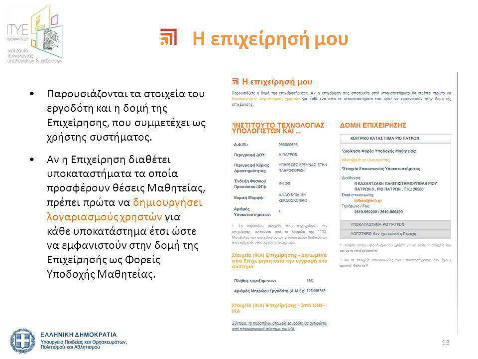 Η επιχείρησή μου •Παρουσιάζονται τα στοιχεία του εργοδότη και η δομή της Επιχείρησης, που συμμετέχει ως χρήστης συστήματος.