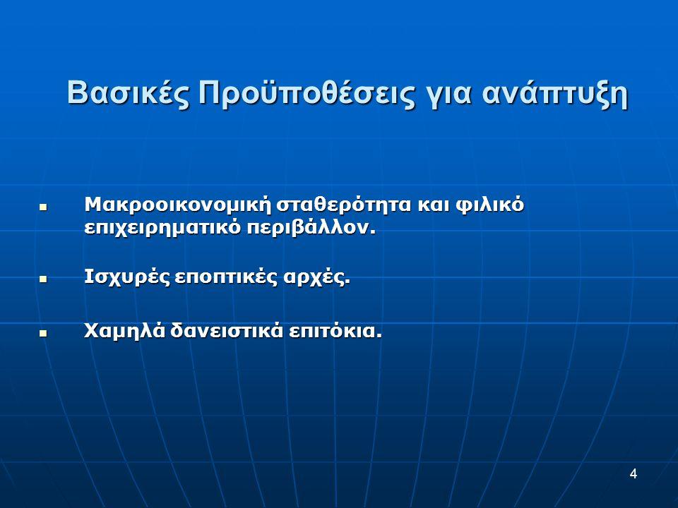 Βασικές Προϋποθέσεις για ανάπτυξη  Μακροοικονομική σταθερότητα και φιλικό επιχειρηματικό περιβάλλον.