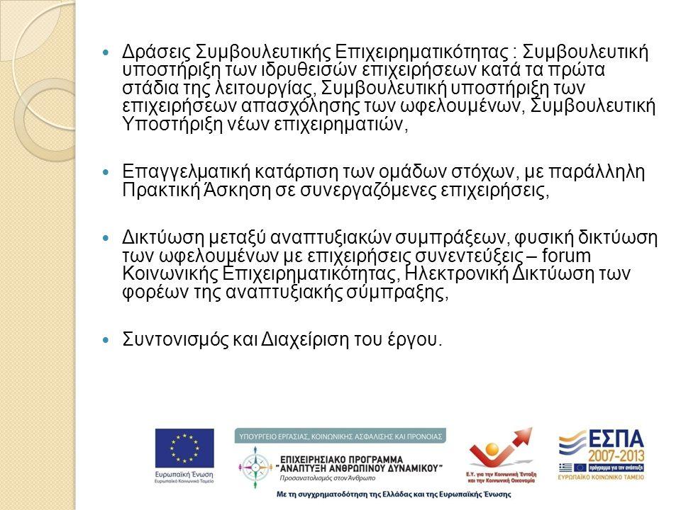  Δράσεις Συμβουλευτικής Επιχειρηματικότητας : Συμβουλευτική υποστήριξη των ιδρυθεισών επιχειρήσεων κατά τα πρώτα στάδια της λειτουργίας, Συμβουλευτική υποστήριξη των επιχειρήσεων απασχόλησης των ωφελουμένων, Συμβουλευτική Υποστήριξη νέων επιχειρηματιών,  Επαγγελματική κατάρτιση των ομάδων στόχων, με παράλληλη Πρακτική Άσκηση σε συνεργαζόμενες επιχειρήσεις,  Δικτύωση μεταξύ αναπτυξιακών συμπράξεων, φυσική δικτύωση των ωφελουμένων με επιχειρήσεις συνεντεύξεις – forum Κοινωνικής Επιχειρηματικότητας, Ηλεκτρονική Δικτύωση των φορέων της αναπτυξιακής σύμπραξης,  Συντονισμός και Διαχείριση του έργου.