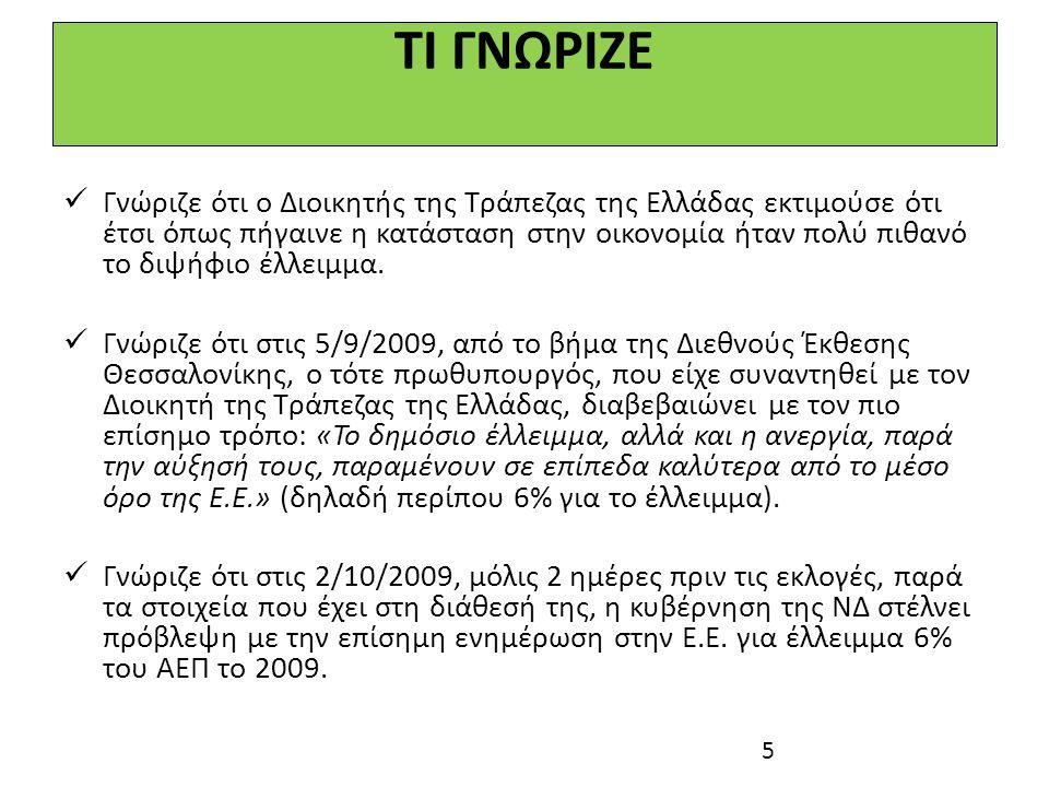 ΚΑΙ ΠΟΤΕ ΒΕΒΑΙΩΘΗΚΑΝ ΟΛΟΙ ΓΙΑ ΤΟ ΔΙΨΗΦΙΟ ΕΛΛΕΙΜΜΑ;  Στις 8/10/2009, τέσσερεις μέρες μετά τις εκλογές, ο Διοικητής της ΤτΕ δηλώνει για το έλλειμμα του 2009 «Εγώ αισιοδοξώ ότι δεν θα ξεπεράσει το 10%».