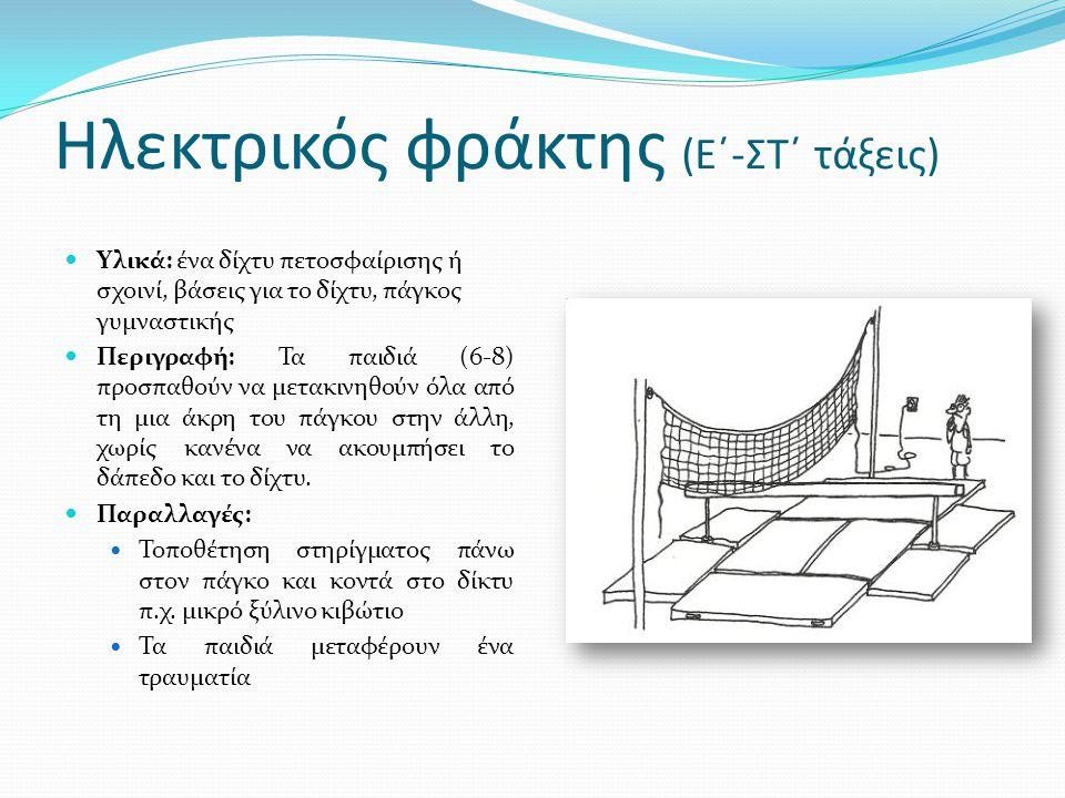 Ηλεκτρικός φράκτης (Ε΄-ΣΤ΄ τάξεις)  Υλικά: ένα δίχτυ πετοσφαίρισης ή σχοινί, βάσεις για το δίχτυ, πάγκος γυμναστικής  Περιγραφή: Τα παιδιά (6-8) προσπαθούν να μετακινηθούν όλα από τη μια άκρη του πάγκου στην άλλη, χωρίς κανένα να ακουμπήσει το δάπεδο και το δίχτυ.