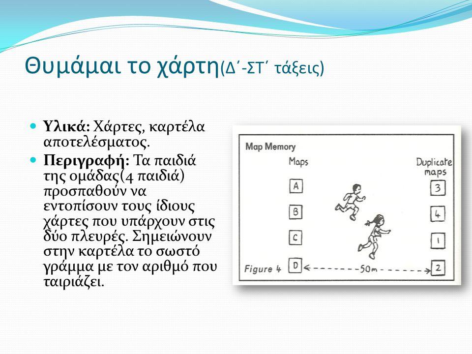 Θυμάμαι το χάρτη (Δ΄-ΣΤ΄ τάξεις)  Υλικά: Χάρτες, καρτέλα αποτελέσματος.  Περιγραφή: Τα παιδιά της ομάδας(4 παιδιά) προσπαθούν να εντοπίσουν τους ίδι