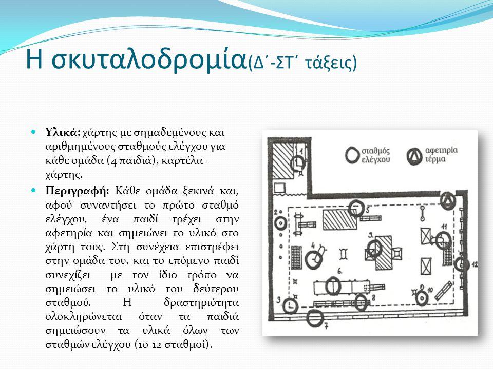 Η σκυταλοδρομία (Δ΄-ΣΤ΄ τάξεις)  Υλικά: χάρτης με σημαδεμένους και αριθμημένους σταθμούς ελέγχου για κάθε ομάδα (4 παιδιά), καρτέλα- χάρτης.