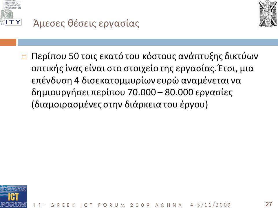 11 o GREEK ICT FORUM 2009 ΑΘΗΝΑ 4-5/11/2009 27 Άμεσες θέσεις εργασίας  Περίπου 50 τοις εκατό του κόστους ανάπτυξης δικτύων οπτικής ίνας είναι στο στοιχείο της εργασίας.