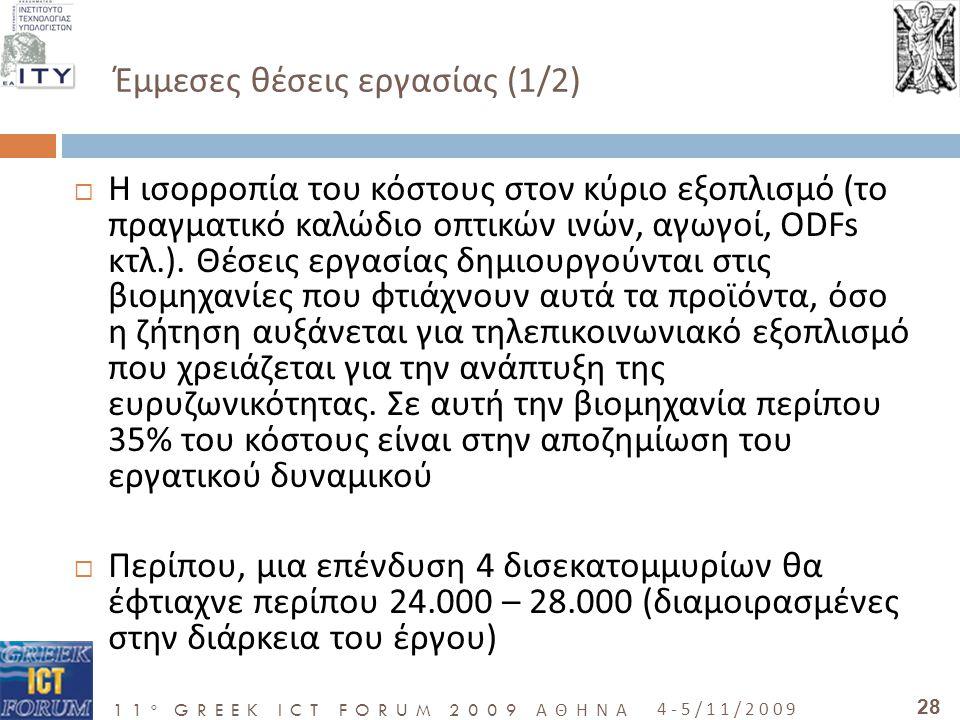 11 o GREEK ICT FORUM 2009 ΑΘΗΝΑ 4-5/11/2009 28 Έμμεσες θέσεις εργασίας (1/2)  Η ισορροπία του κόστους στον κύριο εξοπλισμό (το πραγματικό καλώδιο οπτικών ινών, αγωγοί, ODFs κτλ.).