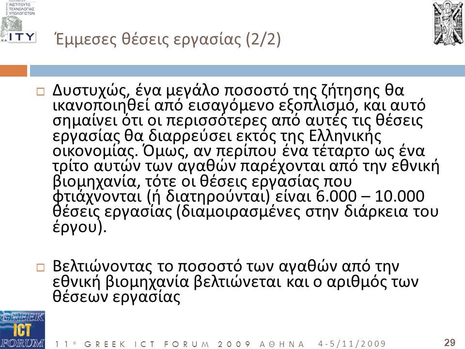 11 o GREEK ICT FORUM 2009 ΑΘΗΝΑ 4-5/11/2009 29 Έμμεσες θέσεις εργασίας (2/2)  Δυστυχώς, ένα μεγάλο ποσοστό της ζήτησης θα ικανοποιηθεί από εισαγόμενο εξοπλισμό, και αυτό σημαίνει ότι οι περισσότερες από αυτές τις θέσεις εργασίας θα διαρρεύσει εκτός της Ελληνικής οικονομίας.