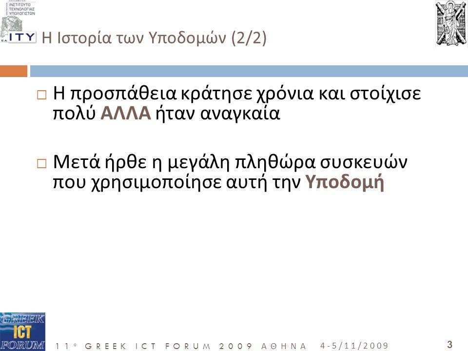 11 o GREEK ICT FORUM 2009 ΑΘΗΝΑ 4-5/11/2009 3  Η προσπάθεια κράτησε χρόνια και στοίχισε πολύ ΑΛΛΑ ήταν αναγκαία  Μετά ήρθε η μεγάλη πληθώρα συσκευών που χρησιμοποίησε αυτή την Υποδομή H Ιστορία των Υποδομών (2/2)