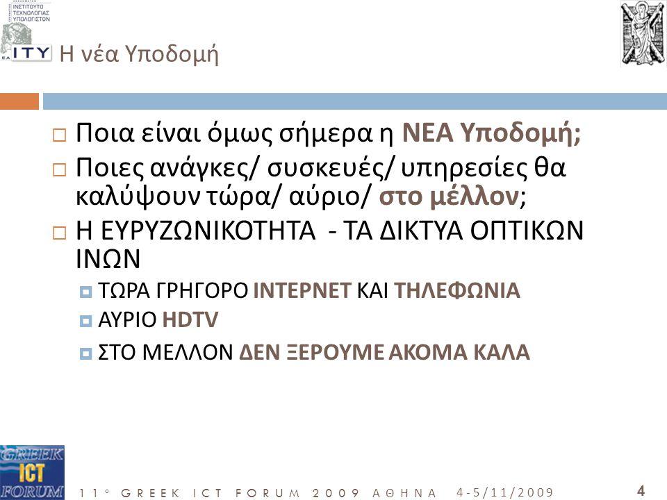 11 o GREEK ICT FORUM 2009 ΑΘΗΝΑ 4-5/11/2009 35 Γιατί…  Θα βάλει τη χώρα στην νέα ψηφιακή Εποχή  Θα επηρεάσει σημαντικά τη θέση της χώρας στο παγκόσμιο γίγνεσθαι το οποίο διαμορφώνετε σήμερα  Η καθυστέρηση στην ανάπτυξη μια τέτοιας υποδομής θα έχει αρνητικές συνέπειες για τη θέση της Ελλάδας στη παγκόσμια οικονομία