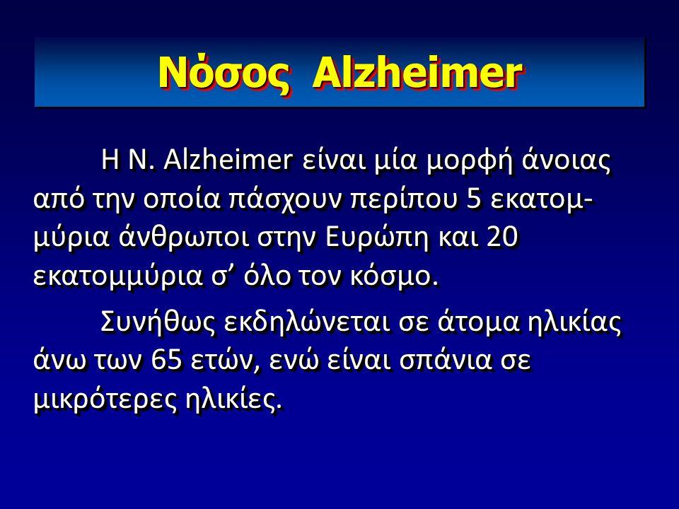 Nόσος Alzheimer Η Ν. Alzheimer είναι μία μορφή άνοιας από την οποία πάσχουν περίπου 5 εκατομ- μύρια άνθρωποι στην Ευρώπη και 20 εκατομμύρια σ' όλο τον