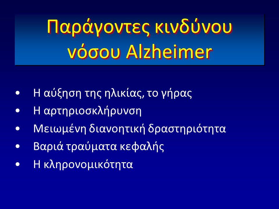 Παράγοντες κινδύνου vόσου Αlzheimer •Η αύξηση της ηλικίας, το γήρας •Η αρτηριοσκλήρυνση •Μειωμένη διανοητική δραστηριότητα •Βαριά τραύματα κεφαλής •Η