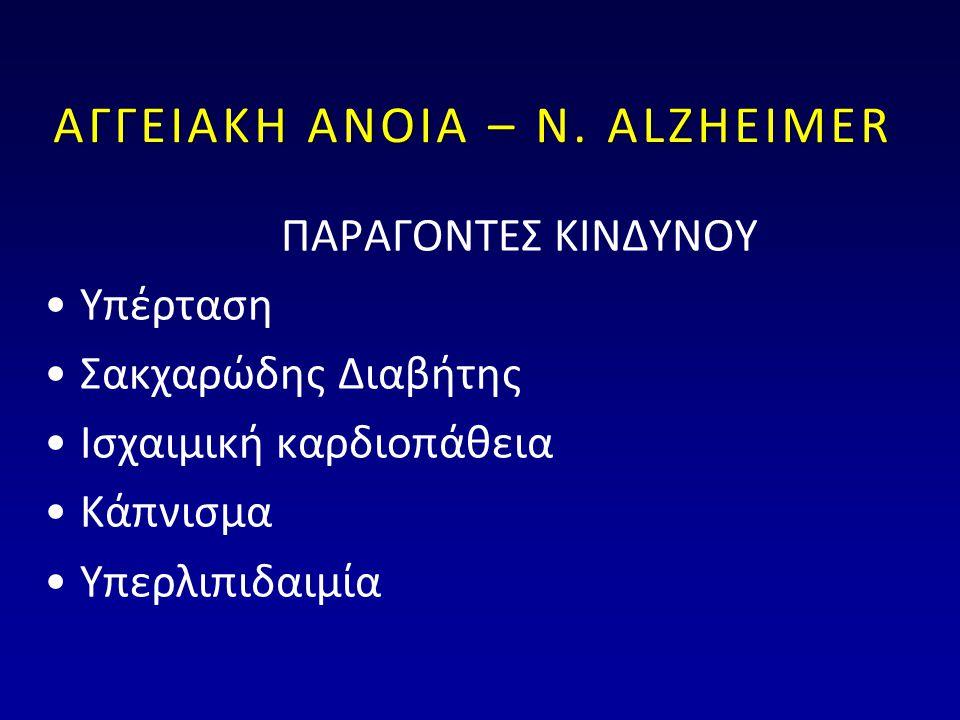 ΑΓΓΕΙΑΚΗ ΑΝΟΙΑ – Ν. ALZHEIMER ΠΑΡΑΓΟΝΤΕΣ ΚΙΝΔΥΝΟΥ •Υπέρταση •Σακχαρώδης Διαβήτης •Ισχαιμική καρδιοπάθεια •Κάπνισμα •Υπερλιπιδαιμία