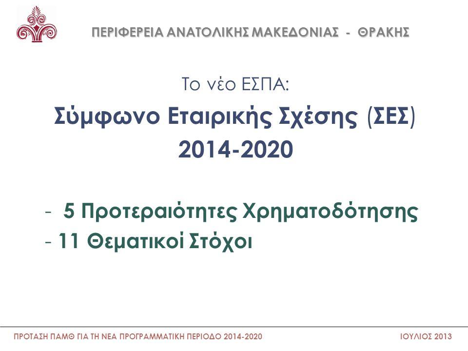 ΠΕΡΙΦΕΡΕΙΑ ΑΝΑΤΟΛΙΚΗΣ ΜΑΚΕΔΟΝΙΑΣ - ΘΡΑΚΗΣ Θεματικοί στόχοι 1.Ενίσχυση της ανταγωνιστικότητας των μικρών και μεσαίων επιχειρήσεων, του πρωτογενή τομέα και του τουρισμού 2.Προστασία του περιβάλλοντος και προώθηση της αποδοτικότητας των πόρων 3.Προώθηση των βιώσιμων μεταφορών και απομάκρυνση των σημείων συμφόρησης σε σημαντικά δίκτυα υποδομών 4.Ενίσχυση της έρευνας, της τεχνολογικής ανάπτυξης και της καινοτομίας 5.Ενίσχυση της μετάβασης προς την οικονομία χαμηλών εκπομπών ρύπων σε όλους τους τομείς 6.Προώθηση της απασχόλησης και υποστήριξη της κινητικότητας των εργαζομένων 7.Προώθηση της κοινωνικής ένταξης και της καταπολέμησης της φτώχειας 8.Προώθηση της προσαρμογής στις κλιματικές αλλαγές, της πρόληψης και της διαχείρισης του κινδύνου 9.Επένδυση στην εκπαίδευση, τις δεξιότητες και στη δια βίου μάθηση 10.Ενίσχυση της πρόσβασης, χρήσης και ποιότητας, των τεχνολογιών πληροφορικής και επικοινωνιών 11.Βελτίωση της θεσμικής επάρκειας και της αποτελεσματικής δημόσιας διοίκησης ΠΡΟΤΑΣΗ ΠΑΜΘ ΓΙΑ ΤΗ ΝΕΑ ΠΡΟΓΡΑΜΜΑΤΙΚΗ ΠΕΡΙΟΔΟ 2014-2020 ΙΟΥΛΙΟΣ 2013