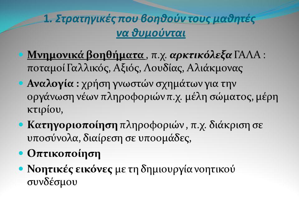 1. Στρατηγικές που βοηθούν τους μαθητές να θυμούνται  Μνημονικά βοηθήματα, π.χ. αρκτικόλεξα ΓΑΛΑ : ποταμοί Γαλλικός, Αξιός, Λουδίας, Αλιάκμονας  Ανα
