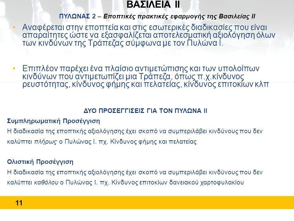 11 ΒΑΣΙΛΕΙΑ ΙΙ ΠΥΛΩΝΑΣ 2 – Εποπτικές πρακτικές εφαρμογής της Βασιλείας ΙΙ •Αναφέρεται στην εποπτεία και στις εσωτερικές διαδικασίες που είναι απαραίτη