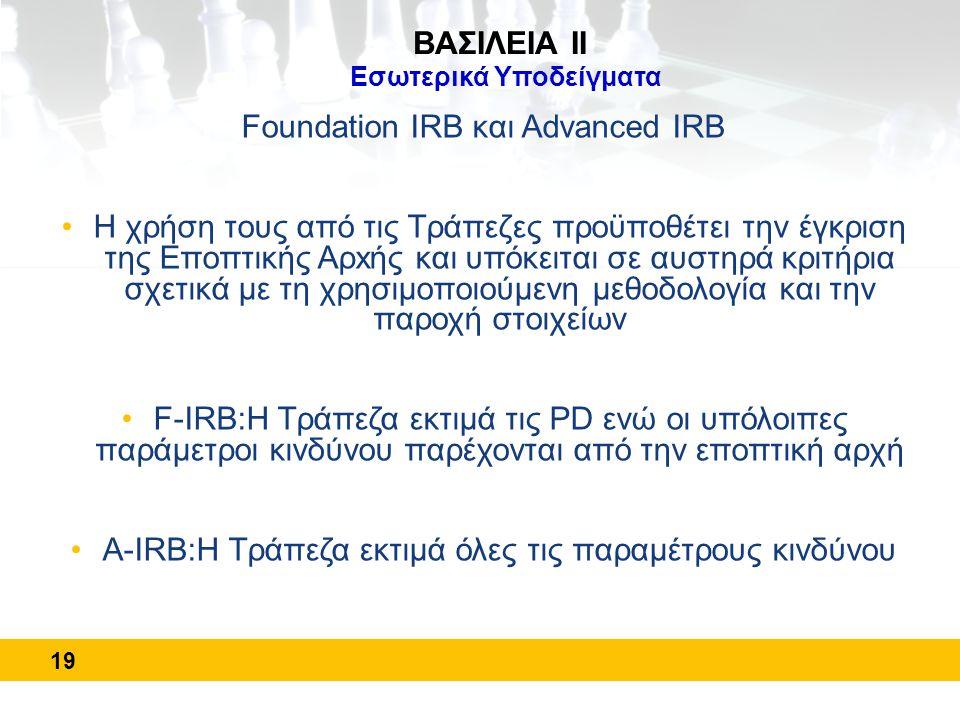 19 ΒΑΣΙΛΕΙΑ ΙΙ Εσωτερικά Υποδείγματα Foundation IRB και Advanced IRB •Η χρήση τους από τις Τράπεζες προϋποθέτει την έγκριση της Εποπτικής Αρxής και υπ