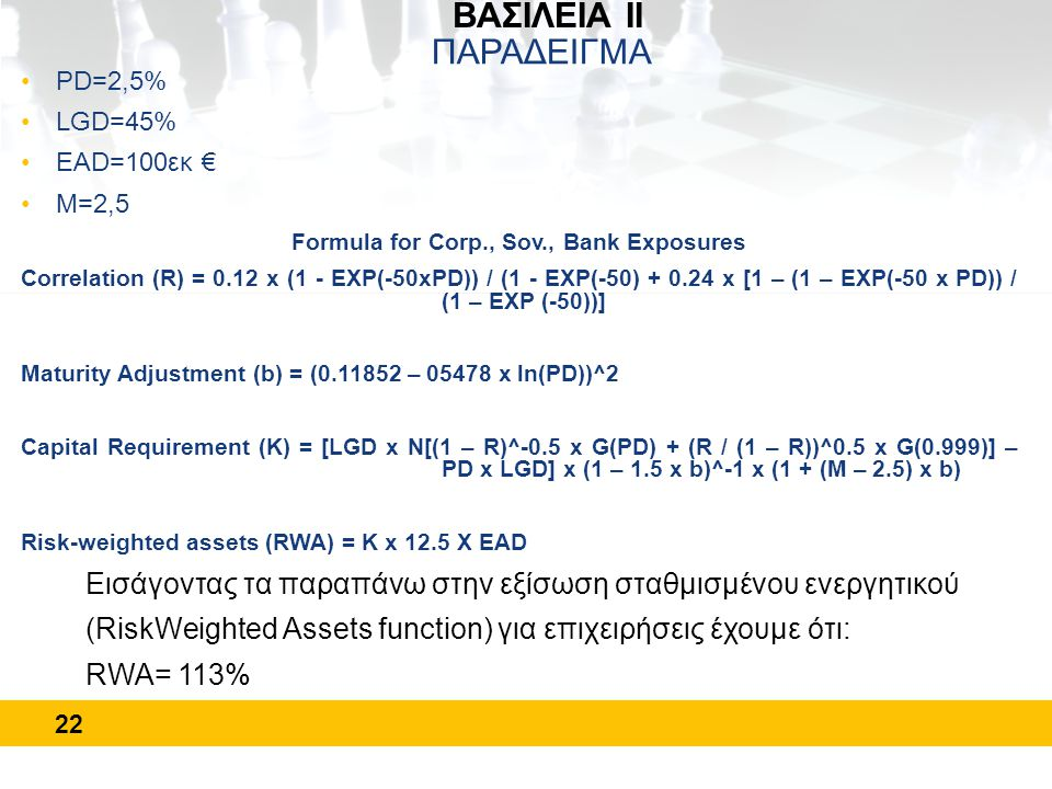 22 ΒΑΣΙΛΕΙΑ ΙΙ ΠΑΡΑΔΕΙΓΜΑ •PD=2,5% •LGD=45% •EAD=100εκ € •Μ=2,5 Formula for Corp., Sov., Bank Exposures Correlation (R) = 0.12 x (1 - EXP(-50xPD)) / (