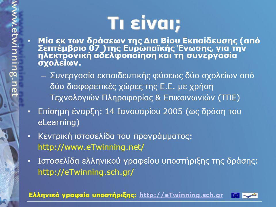Ελληνικό γραφείο υποστήριξης: http://eTwinning.sch.grhttp://eTwinning.sch.gr Μέσω του eTwinning μπορεί να προκύψει συνεργασία μεταξύ δύο σχολείων από δύο Ευρωπαϊκές χώρες, όχι μόνο σε επίπεδο μαθητών αλλά και σε επίπεδο:  δύο καθηγητών  δύο ομάδων καθηγητών  δύο υπευθύνων βιβλιοθήκης  δύο διευθυντών Μπορεί, βεβαίως, να προκύψει προσέγγιση ολόκληρου του σχολείου για μία πολύ-επίπεδη πρωτοβουλία.