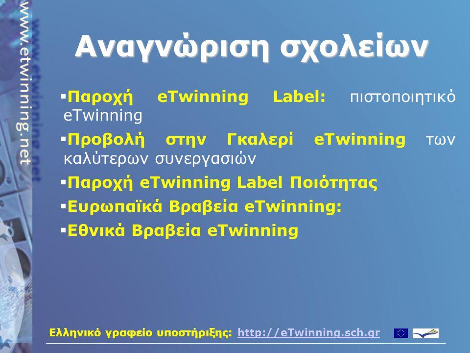 Ελληνικό γραφείο υποστήριξης: http://eTwinning.sch.grhttp://eTwinning.sch.gr Περισσότερες πληροφορίες • Το πρόγραμμα eTwinning υποστηρίζεται στην Ελλάδα από το Υπουργείο Εθνικής Παιδείας και Θρησκευμάτων και το Ερευνητικό Ακαδημαϊκό Ινστιτούτο Τεχνολογίας Υπολογιστών – E-mail: eTwinning@sch.gr – Ιστοσελίδα: http://eTwinning.sch.gr – Τηλ: 801 11 38946 (801 11 etwin) • Σε Πανευρωπαϊκό επίπεδο υποστήριξη παρέχεται από την κεντρική υπηρεσία υποστήριξης – http://www.eTwinning.net