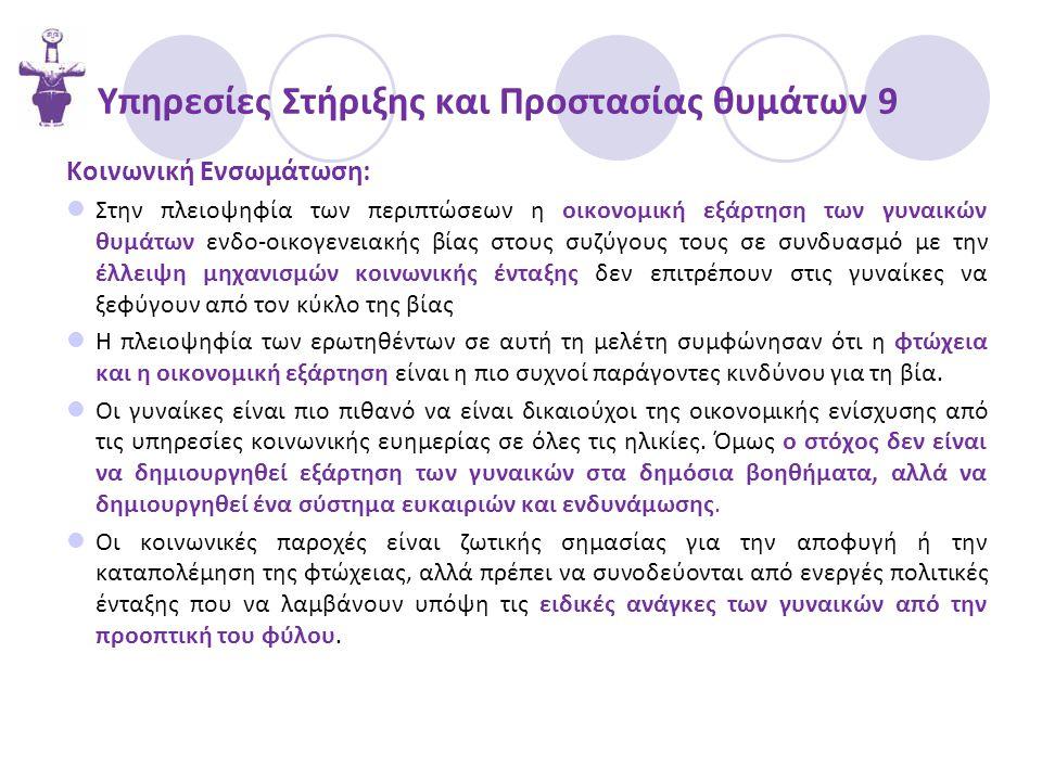 Υπηρεσίες Στήριξης και Προστασίας θυμάτων 9 Κοινωνική Ενσωμάτωση:  Στην πλειοψηφία των περιπτώσεων η οικονομική εξάρτηση των γυναικών θυμάτων ενδο-οικογενειακής βίας στους συζύγους τους σε συνδυασμό με την έλλειψη μηχανισμών κοινωνικής ένταξης δεν επιτρέπουν στις γυναίκες να ξεφύγουν από τον κύκλο της βίας  Η πλειοψηφία των ερωτηθέντων σε αυτή τη μελέτη συμφώνησαν ότι η φτώχεια και η οικονομική εξάρτηση είναι η πιο συχνοί παράγοντες κινδύνου για τη βία.