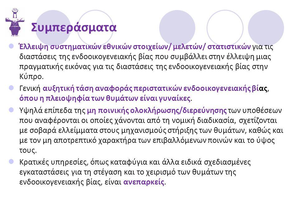 Συμπεράσματα  Έλλειψη συστηματικών εθνικών στοιχείων/ μελετών/ στατιστικών για τις διαστάσεις της ενδοοικογενειακής βίας που συμβάλλει στην έλλειψη μιας πραγματικής εικόνας για τις διαστάσεις της ενδοοικογενειακής βίας στην Κύπρο.