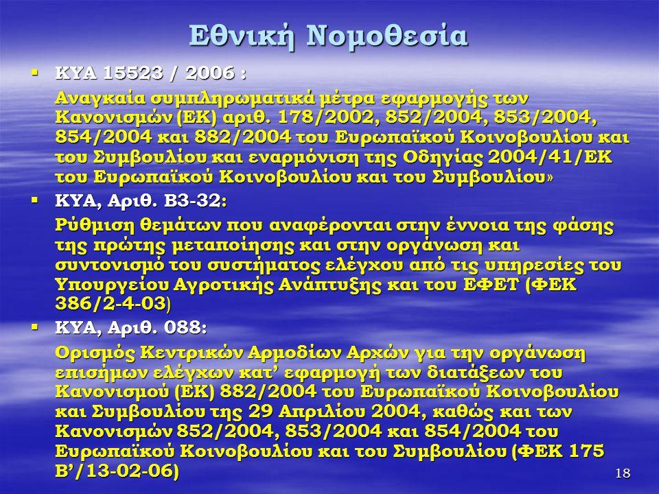 18 Εθνική Νομοθεσία  ΚΥΑ 15523 / 2006 : Αναγκαία συμπληρωματικά μέτρα εφαρμογής των Κανονισμών (ΕΚ) αριθ. 178/2002, 852/2004, 853/2004, 854/2004 και