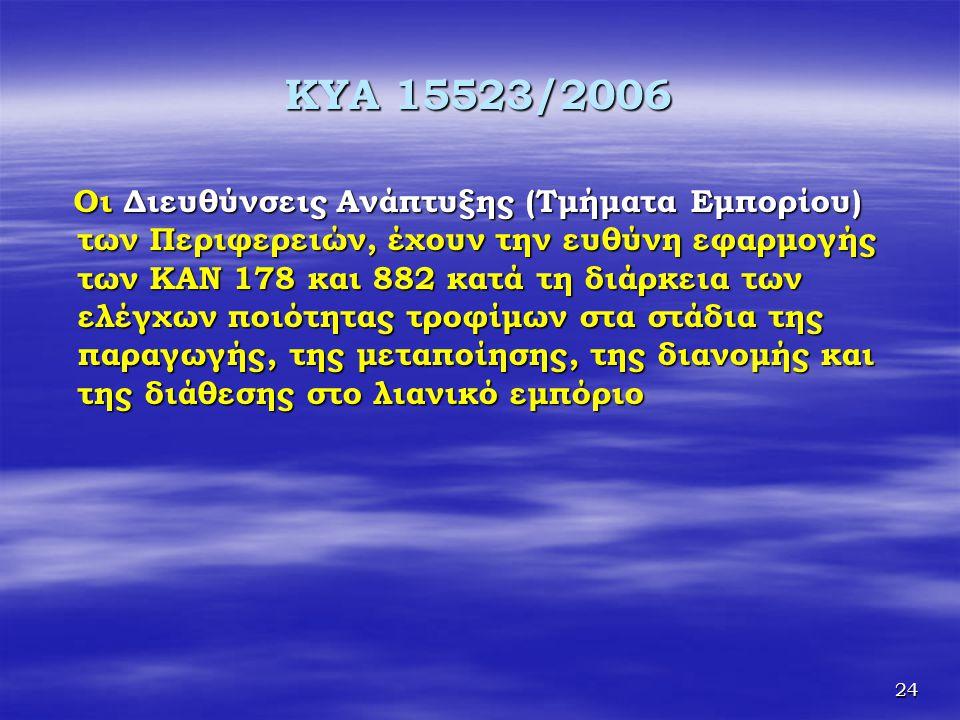 24 KYA 15523/2006 Οι Διευθύνσεις Ανάπτυξης (Τμήματα Εμπορίου) των Περιφερειών, έχουν την ευθύνη εφαρμογής των ΚΑΝ 178 και 882 κατά τη διάρκεια των ελέ