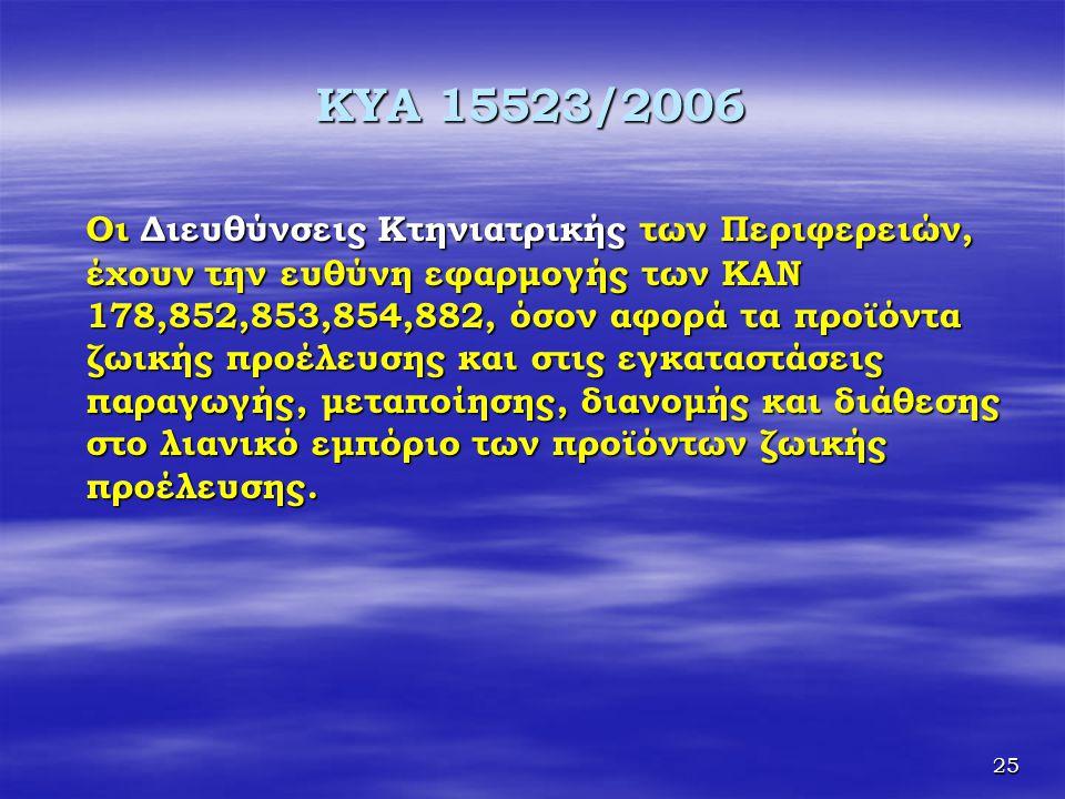 25 KYA 15523/2006 Οι Διευθύνσεις Κτηνιατρικής των Περιφερειών, έχουν την ευθύνη εφαρμογής των ΚΑΝ 178,852,853,854,882, όσον αφορά τα προϊόντα ζωικής π