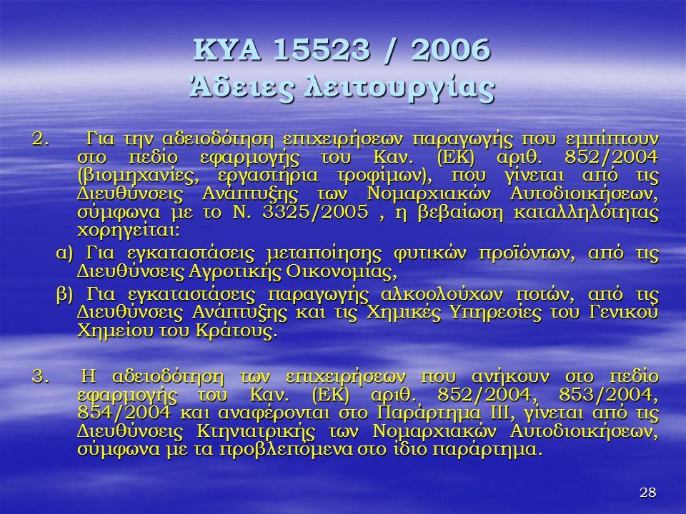 28 ΚΥΑ 15523 / 2006 Άδειες λειτουργίας 2. Για την αδειοδότηση επιχειρήσεων παραγωγής που εμπίπτουν στο πεδίο εφαρμογής του Καν. (ΕΚ) αριθ. 852/2004 (β