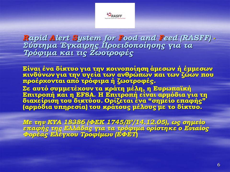 6 Rapid Alert System for Food and Feed (RASFF) - Σύστημα Έγκαιρης Προειδοποίησης για τα Τρόφιμα και τις Ζωοτροφές Είναι ένα δίκτυο για την κοινοποίηση
