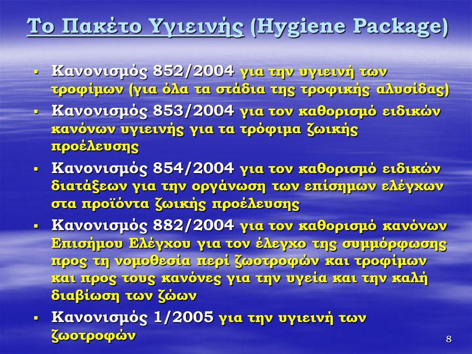 9 Μέτρα εφαρμογής του Πακέτου Υγιεινής  Κανονισμός 2073/05 περί μικροβιολογικών κριτηρίων  Κανονισμός 2074/05 για τη θέσπιση μέτρων εφαρμογής για ορισμένα προϊόντα  Κανονισμός 2075/05 για τη θέσπιση ειδικών μέτρων για την ανίχνευση της Trichinella στο κρέας  Κανονισμός 1441/2007 για την τροποποίηση του κανονισμού (ΕΚ) αριθ.