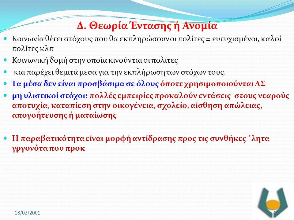 Δ. Θεωρία Έντασης ή Ανομία  Κοινωνία θέτει στόχους που θα εκπληρώσουν οι πολίτες = ευτυχισμένοι, καλοί πολίτες κλπ  Κοινωνική δομή στην οποία κινούν