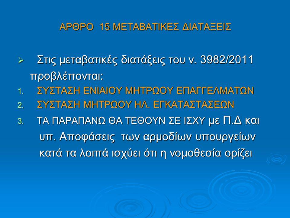 ΑΡΘΡΟ 15 ΜΕΤΑΒΑΤΙΚΕΣ ΔΙΑΤΑΞΕΙΣ  Στις μεταβατικές διατάξεις του ν. 3982/2011 προβλέπονται: προβλέπονται: 1. ΣΥΣΤΑΣΗ ΕΝΙΑΙΟΥ ΜΗΤΡΩΟΥ ΕΠΑΓΓΕΛΜΑΤΩΝ 2. ΣΥ