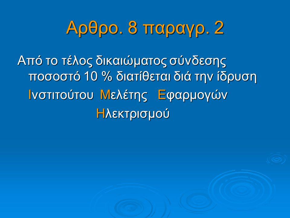 Αρθρο. 8 παραγρ. 2 Από το τέλος δικαιώματος σύνδεσης ποσοστό 10 % διατίθεται διά την ίδρυση Ινστιτούτου Μελέτης Εφαρμογών Ινστιτούτου Μελέτης Εφαρμογώ
