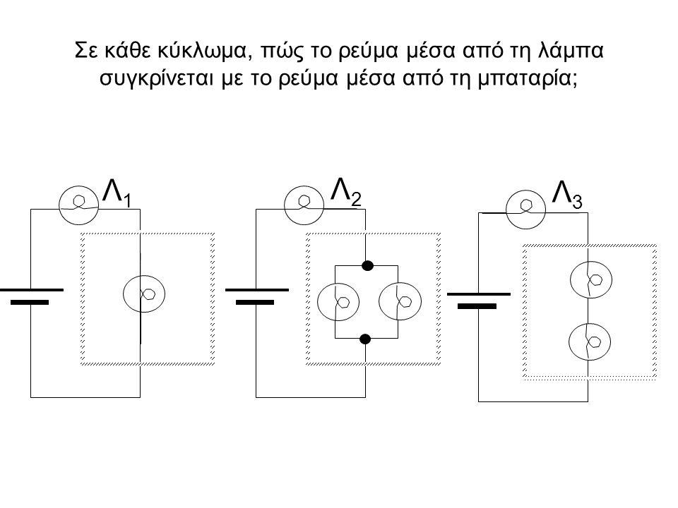 Σε κάθε κύκλωμα, πώς το ρεύμα μέσα από τη λάμπα συγκρίνεται με το ρεύμα μέσα από τη μπαταρία; Λ1Λ1 Λ2Λ2 Λ3Λ3