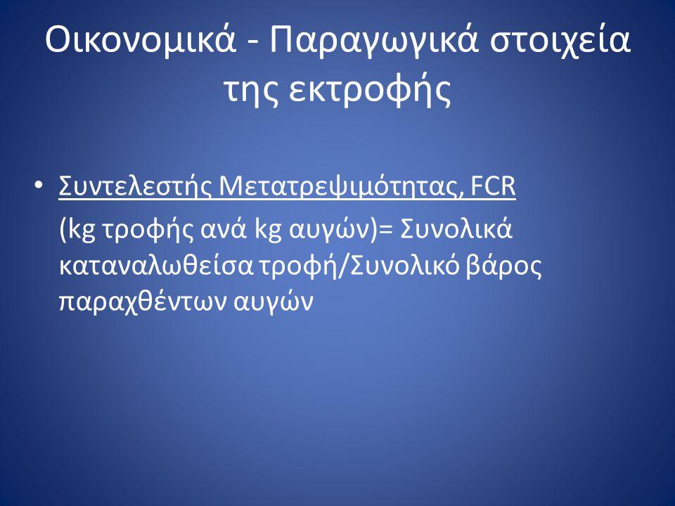 Οικονομικά - Παραγωγικά στοιχεία της εκτροφής • Συντελεστής Μετατρεψιμότητας, FCR (kg τροφής ανά kg αυγών)= Συνολικά καταναλωθείσα τροφή/Συνολικό βάρο