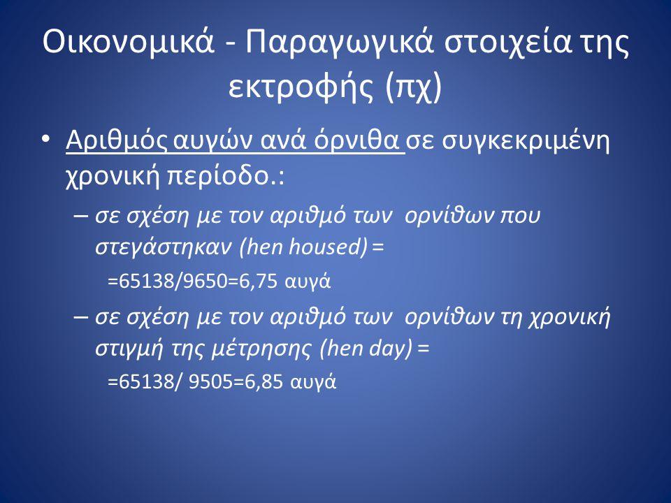 Οικονομικά - Παραγωγικά στοιχεία της εκτροφής (πχ) • Αριθμός αυγών ανά όρνιθα σε συγκεκριμένη χρονική περίοδο.: – σε σχέση με τον αριθμό των ορνίθων π