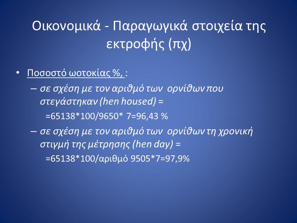 Οικονομικά - Παραγωγικά στοιχεία της εκτροφής (πχ) • Ποσοστό ωοτοκίας %, : – σε σχέση με τον αριθμό των ορνίθων που στεγάστηκαν (hen housed) = =65138*