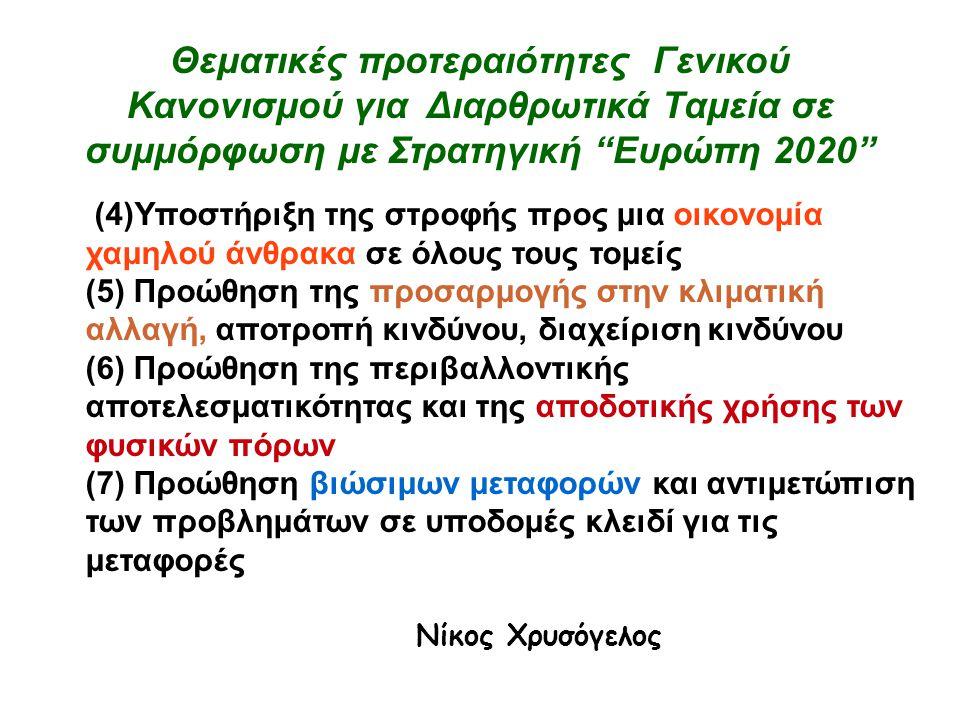 Θεματικές προτεραιότητες Γενικού Κανονισμού για Διαρθρωτικά Ταμεία σε συμμόρφωση με Στρατηγική Ευρώπη 2020 (4)Υποστήριξη της στροφής προς μια οικονομία χαμηλού άνθρακα σε όλους τους τομείς (5) Προώθηση της προσαρμογής στην κλιματική αλλαγή, αποτροπή κινδύνου, διαχείριση κινδύνου (6) Προώθηση της περιβαλλοντικής αποτελεσματικότητας και της αποδοτικής χρήσης των φυσικών πόρων (7) Προώθηση βιώσιμων μεταφορών και αντιμετώπιση των προβλημάτων σε υποδομές κλειδί για τις μεταφορές Νίκος Χρυσόγελος