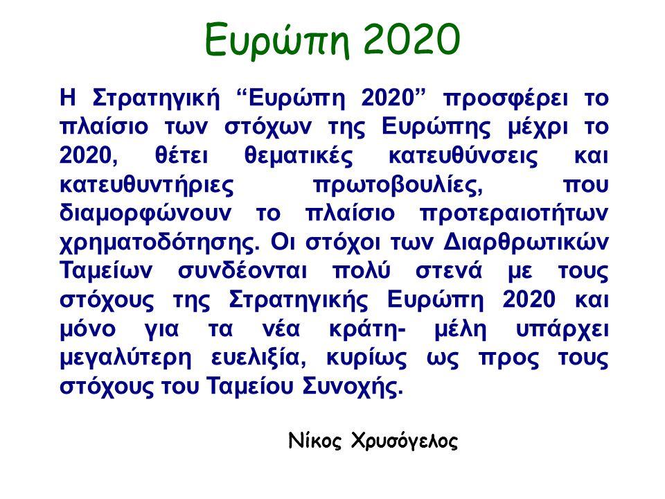 Ευρώπη 2020 Η Στρατηγική Ευρώπη 2020 προσφέρει το πλαίσιο των στόχων της Ευρώπης μέχρι το 2020, θέτει θεματικές κατευθύνσεις και κατευθυντήριες πρωτοβουλίες, που διαμορφώνουν το πλαίσιο προτεραιοτήτων χρηματοδότησης.