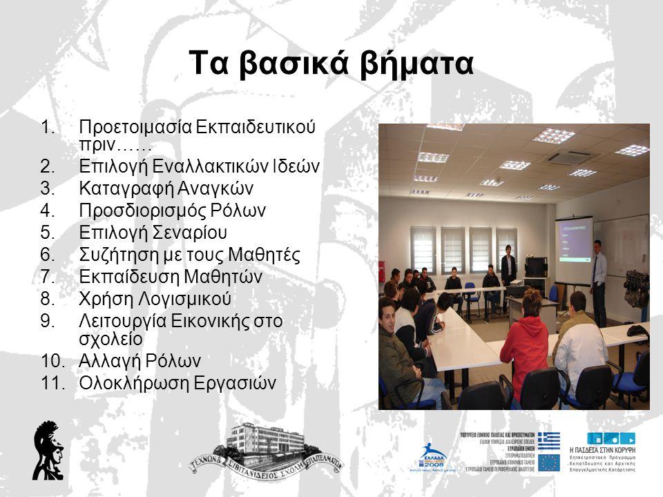 11ο Βήμα: Ολοκλήρωση Εργασιών •Ολοκλήρωση Εργασιών •Ανοιχτή Συζήτηση με τα παιδιά •Αξιολόγηση •Καταγραφή –Συγκέντρωση Υλικού •Ενημέρωση Διαχειριστικής Αρχής •Επίσκεψη στην επιχείρηση Μέντορα •Συνολική παρουσίαση Αποτελεσμάτων
