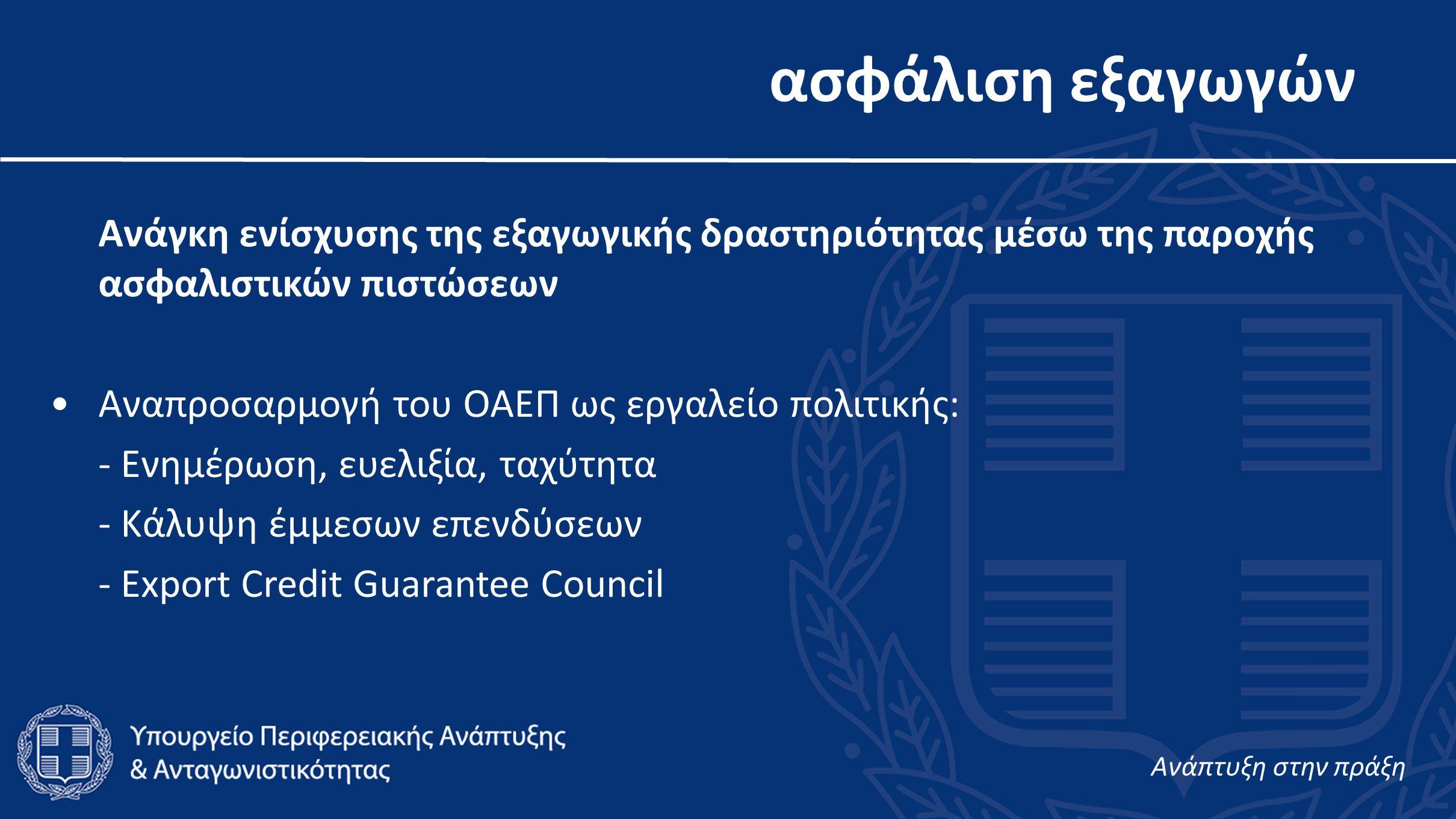 ασφάλιση εξαγωγών Ανάγκη ενίσχυσης της εξαγωγικής δραστηριότητας μέσω της παροχής ασφαλιστικών πιστώσεων •Αναπροσαρμογή του ΟΑΕΠ ως εργαλείο πολιτικής: - Ενημέρωση, ευελιξία, ταχύτητα - Κάλυψη έμμεσων επενδύσεων - Export Credit Guarantee Council Aνάπτυξη στην πράξη
