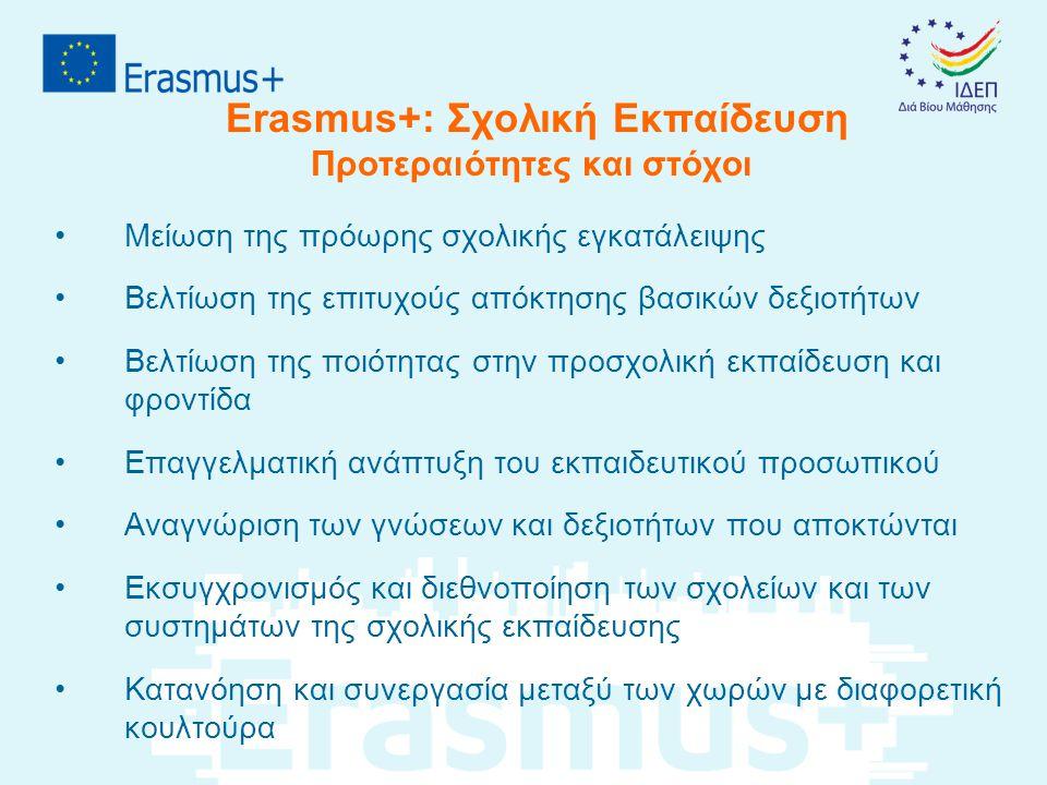 Erasmus+: Σχολική Εκπαίδευση Προτεραιότητες και στόχοι •Μείωση της πρόωρης σχολικής εγκατάλειψης •Βελτίωση της επιτυχούς απόκτησης βασικών δεξιοτήτων