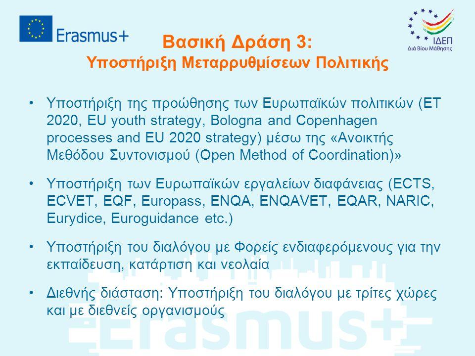 Αλλαγές – καινοτομίες που εισάγει το Erasmus+ (1/2) •Έμφαση στην αξιοποίηση των αποτελεσμάτων και στον αντίκτυπο στα ιδρύματα/οργανισμούς/συστήματα •Πλήρης κατάργηση της διαδικασίας χορήγησης ατομικών υποτροφιών – όλες οι αιτήσεις, για όλες τις δράσεις, υποβάλλονται από το ίδρυμα/οργανισμό •Κατάργηση των ιδιαιτεροτήτων κάθε τομέα – κοινοί κανονισμοί συμμετοχής για όλους του τομείς •Προώθηση της διατομεακής συνεργασίας και της συνεργασίας με τον κόσμο των επιχειρήσεων και της αγοράς εργασίας •Προώθηση της Διεθνούς συνεργασίας με τη συμμετοχή Ιδρυμάτων/οργανισμών από τρίτες χώρες