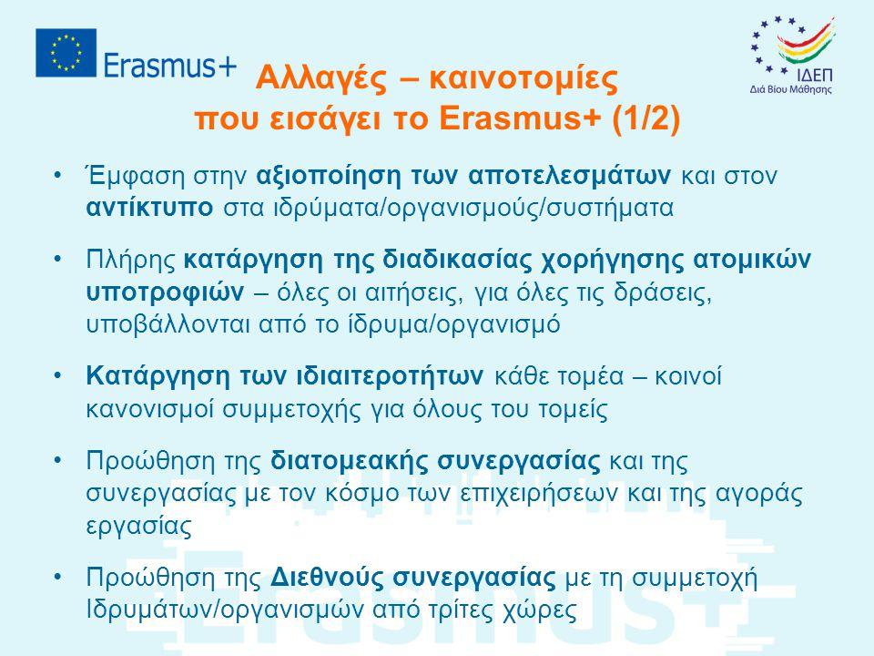 Αλλαγές – καινοτομίες που εισάγει το Erasmus+ (2/2) •Σχεδόν πλήρης κατάργηση επιχορηγήσεων με βάση τα πραγματικά έξοδα (εκτός στη περίπτωση ατόμων με ειδικές ανάγκες) – εισαγωγή των unit costs •Ηλεκτρονική υποβολή όλων των προτάσεων – κατάργηση της υποβολής εντύπων – αιτήσεις φιλικές προς το χρήστη – μια ημερομηνία υποβολής κάθε χρόνο (εκτός από τον Τομέα της Νεολαίας που θα υπάρχουν τρεις καταληκτικές ημερομηνίες) •Εισαγωγή διαφόρων ηλεκτρονικών εργαλείων που θα υποστηρίζουν όλη τη διάρκεια ζωής των σχεδίων
