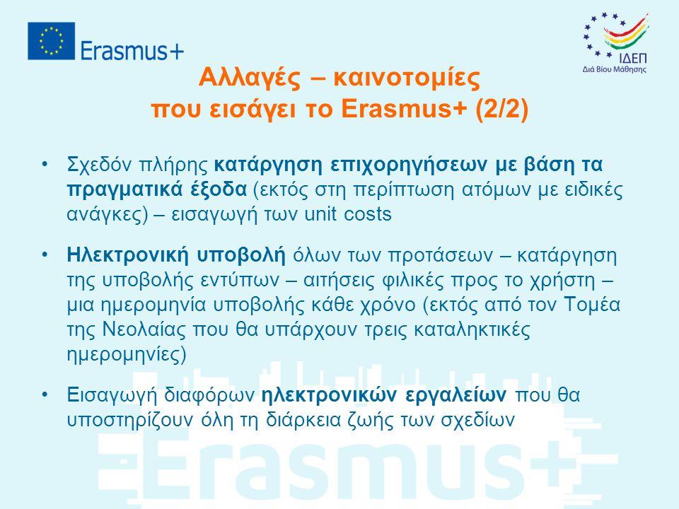 Αλλαγές – καινοτομίες που εισάγει το Erasmus+ (2/2) •Σχεδόν πλήρης κατάργηση επιχορηγήσεων με βάση τα πραγματικά έξοδα (εκτός στη περίπτωση ατόμων με