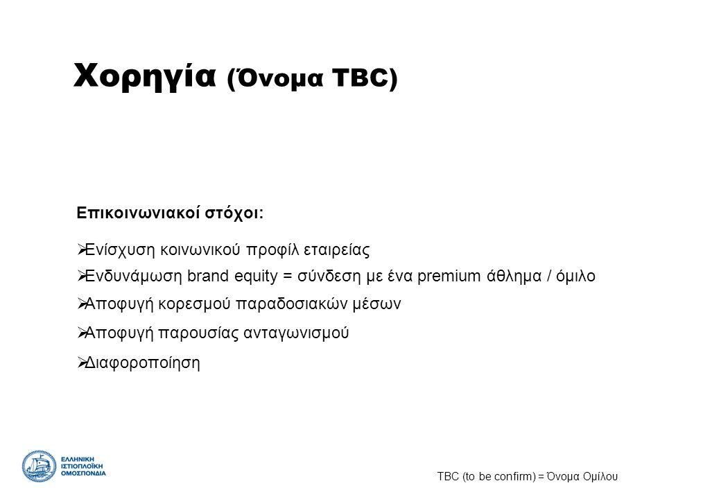 Χορηγία (Όνομα TBC) Επικοινωνιακοί στόχοι:  Ενίσχυση κοινωνικού προφίλ εταιρείας  Ενδυνάμωση brand equity = σύνδεση με ένα premium άθλημα / όμιλο 