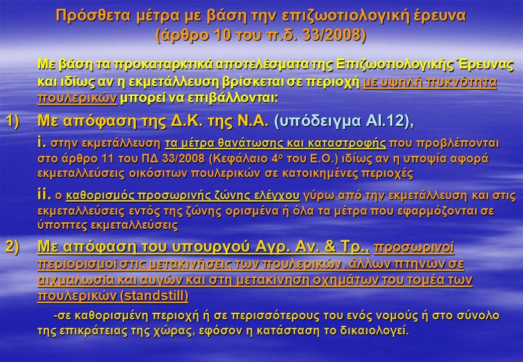 Πρόσθετα μέτρα με βάση την επιζωοτιολογική έρευνα (άρθρο 10 του π.δ. 33/2008) Με βάση τα προκαταρκτικά αποτελέσματα της Επιζωοτιολογικής Έρευνας και ι