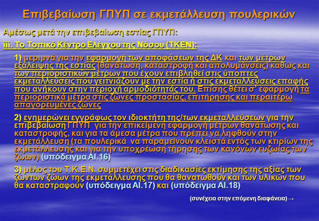 Επιβεβαίωση ΓΠΥΠ σε εκμετάλλευση πουλερικών Αμέσως μετά την επιβεβαίωση εστίας ΓΠΥΠ: iii. Το Τοπικό Κέντρο Ελέγχου της Νόσου (ΤΚΕΝ): 1) μεριμνά για τη