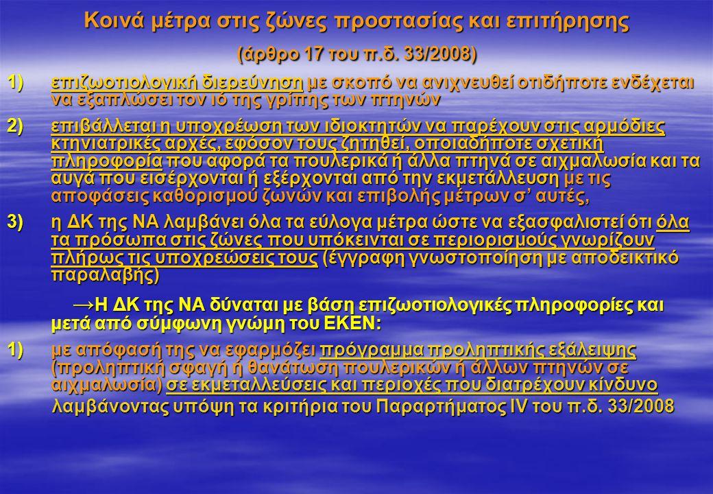 Κοινά μέτρα στις ζώνες προστασίας και επιτήρησης (άρθρο 17 του π.δ. 33/2008) 1)επιζωοτιολογική διερεύνηση με σκοπό να ανιχνευθεί οτιδήποτε ενδέχεται ν