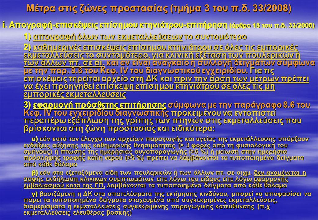 Μέτρα στις ζώνες προστασίας (τμήμα 3 του π.δ. 33/2008) i. Απογραφή-επισκέψεις επίσημου κτηνιάτρου-επιτήρηση (άρθρο 18 του π.δ. 33/2008) 1) απογραφή όλ